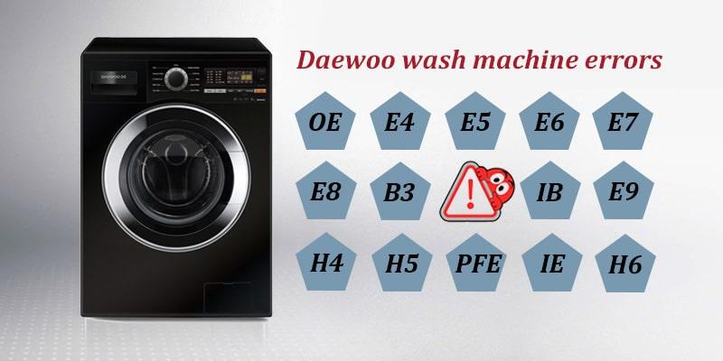 کدهای خطا و عیب یابی ماشین لباسشویی دوو
